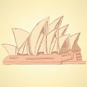 Sketch Sydney Opera, Vector  Background Eps 10