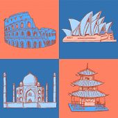 Sketch Chinese Temple, Coliseum,taj Mahal And Sydney Opera, Vector  Set