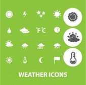 weather signs: climate and forecast icons set, vector