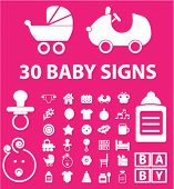 pink baby, children, toys icons set, vector