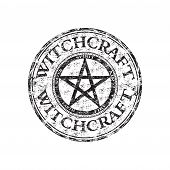 pic of pentacle  - Black grunge rubber stamp with pentagram symbol and the text witchcraft written inside the stamp - JPG