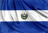 Closeup of silky El Salvador flag