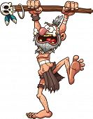 Cartoon prehistoric witch doctor. Vector clip art illustration with simple gradients. All in a singl
