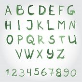 Alphabet in green colors. Watercolor paint. Vector.