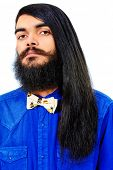 stock photo of brunete  - Portrait of a young brunet man with a beard and long haired - JPG