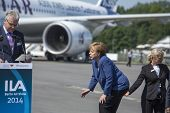 BERLIN, GERMANY - MAY 20, 2014: German Chancellor Angela Merkel (center) during open the Internation