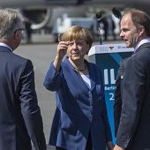 BERLIN, GERMANY - MAY 20, 2014: German Chancellor Angela Merkel (C) during open the International av
