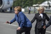 BERLIN, GERMANY - MAY 20, 2014: German Chancellor Angela Merkel (L) during open the International av