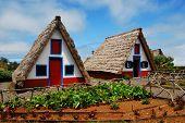 Typical old houses on Madeira island, Santana, Portugal