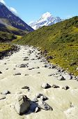 Mount Cook (  Aoraki ) And River Flowing From Glacier