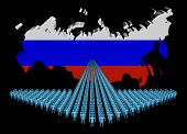 Arrow of people with Russian Federation map flag illustration