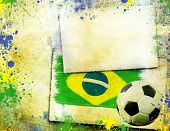 Vintage photo of soccer ball and Brazil flag - World cup concept