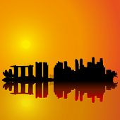 Singapore  vector skyline.  Black silhouette