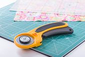 Rotary Cutter On A Green Mat