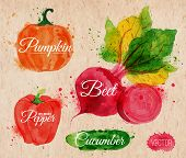 stock photo of cucumbers  - Vegetables set drawn watercolor blots and stains with a spray pumpkin - JPG