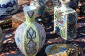 Flea market with decorative porcelain