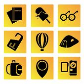 foto of bagpack  - set of 9 travel icons in yellow buttons - JPG
