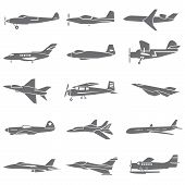 image of aeroplane symbol  - set of 15 fighting plane icons - JPG