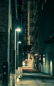 image of spooky  - Dark and Spooky Chicago Alley in Greenish Color Grading - JPG
