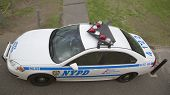 NYPD car providing security in Manhattan