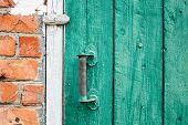 Old Weathered Door With Knob.