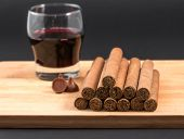 Worldwide Famous Hand Rolled Cuban Cigars With Red Wine