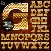 Shiny font of gold and diamond vector illustration. Slab. File contains graphic styles available in Illustrator