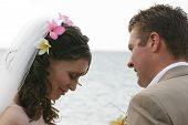 Bride and Groom on Beach Closeup