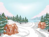 Illustration Featuring a Log Cabin Village in Winter
