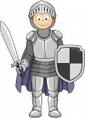 Illustration Featuring a Boy Wearing a Knight Costume