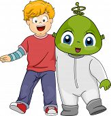 Illustration Featuring a Little Boy and His Alien Friend
