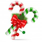 Candy canes with christmas decoration, winter holidays symbol. Vector illustration. Isolated on white background.