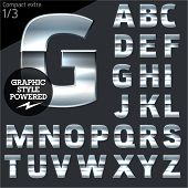 Silver chrome and aluminum vector alphabet set. Compact bold. File contains graphic styles available in Illustrator