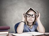 pic of academia  - portrait of girl on desk at school - JPG