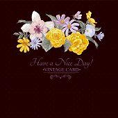 Vintage floral bouquet, botanical greeting card