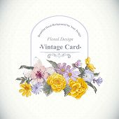 Vintage floral bouquet, botanical greeting card