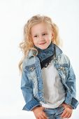 Little Fashionista Posing In Denim Suit
