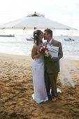 Bride & Groom on Beach Just Married
