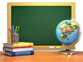 School education concept. Blackboard, books, globe and pencils. 3d