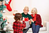 Grandchild taking photo of grandparents with smartphone at christmas