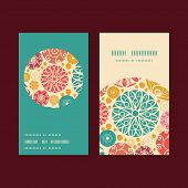 Vector abstract decorative circles vertical round frame pattern business cards set