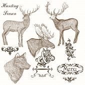 Collection Of Vector Hand Drawn Animals For Hunting Season Design