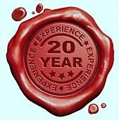 picture of credential  - 20 Year experience quality and jubileum label guaranteed product red wax seal stamp  - JPG