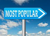 most popular bestseller or market leader and top quality product or rating in the pop poll charts