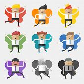 Set of flat design concept icons - office fairies