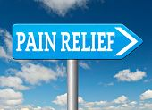 pain relief or management by painkiller or other treatment chronic back pain road sign arrow