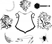 heraldic lion head coat of arms set2