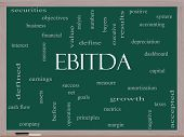 stock photo of amortization  - EBITDA Word Cloud Concept on a Blackboard with great terms such as earnings before taxes interest and more - JPG