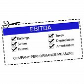 pic of amortization  - EBITDA Blue Coupon Concept with great terms such as earnings taxes interest and more - JPG