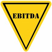 picture of amortization  - A yellow and black triangle shaped road sign with the word EBITDA making a great concept - JPG